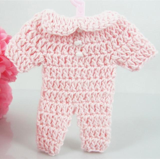 Rosa 12 stücke 76mm miniatur häkeln Strampler für baby shower favors ...
