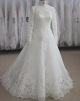New Designer Elegant Long Sleeves Lace Wedding Dresses 2015 Applique Zipper High Neck A Line Vestido