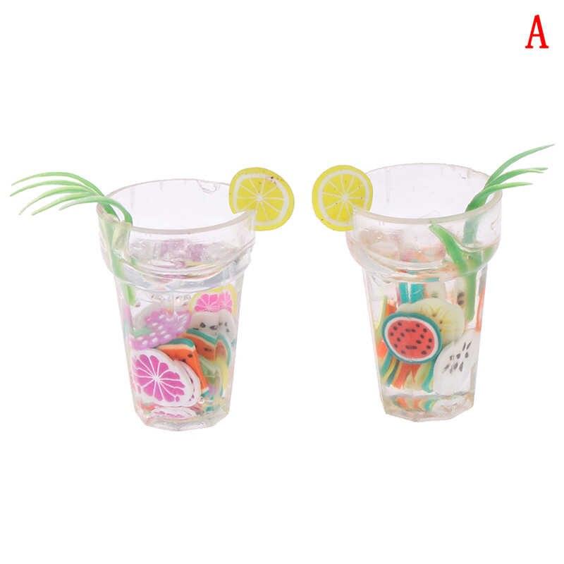 2 pçs/lote Mini Resina Acessórios Copos de Limão Xícara de Água 1:12 Casa De Bonecas Em Miniatura casa de Boneca de Brinquedo Mini Brinquedo Móveis De Decoração Presentes
