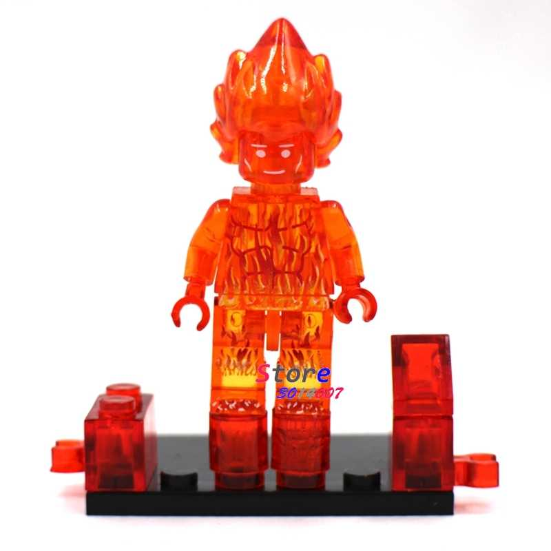 1PCS model building blocks action   superheroes Fantastic 4 Four Human Torch Fire diy toys for children gift
