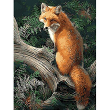 MOYOU 5D Diy Diamond Painting Cartoon Animal fox Cross Stitch Landscape Square Diamond Mosaic Diamond Embroidery Home crafts недорого