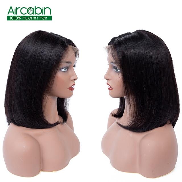 Corta 13*4 pelucas de cabello humano pelo brasileño de la extensión del pelo Bob pelucas para mujeres negras Middele parte 150% de densidad Aircabin
