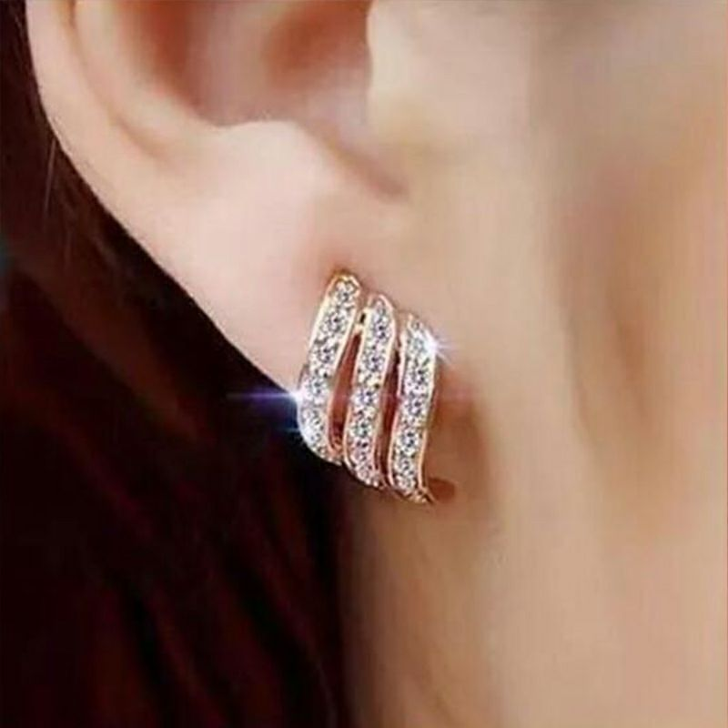 Fashion Dangle Earrings  Female  Drop Earrings Crystal Trendy Jewelry Gold Silver Color Earring For Girls Wedding Gift