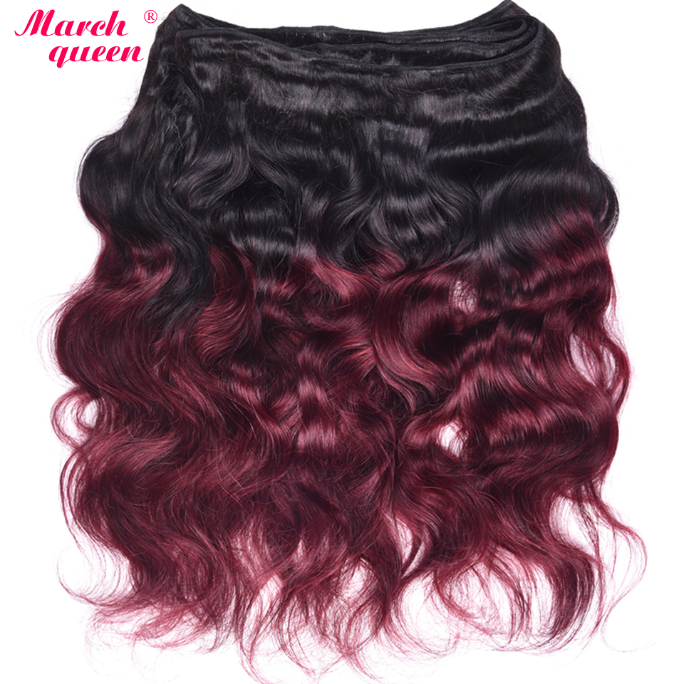 March Queen 4 Bundles Indian Ombre Human Hair Weave T1B/99J Body Wave Hair Black To Red Wine Color Hair Extensions