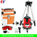 KaiTian Laser Level Tripod with Tilt Function 360 Rotary Self Leveling Outdoor Euro Plug 635nM 5 Lines 6 Points Cross Line Level