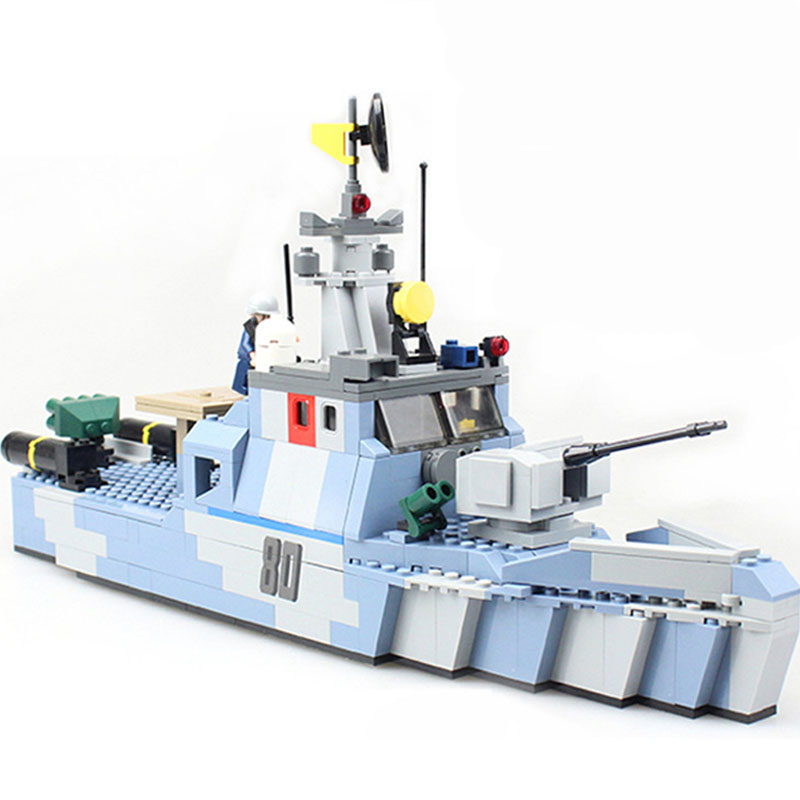 Models building toy 8023 Military Coastal Guard Ship 520Pcs Building Blocks compatible with lego military toys & hobbies