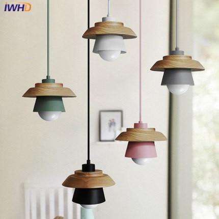 Modern LED Pendant Lamp Wood Lights Dining Room Shop Bar Counter Decoration, Creative Iron Pendant Lights Kitchen Light Led