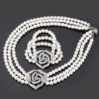 Carino Rosa Fiore Simulato Pearl Beads Set Rhinestone libero del Braccialetto Della Collana Set di Gioielli Per Le Donne Accessori Da Sposa S614