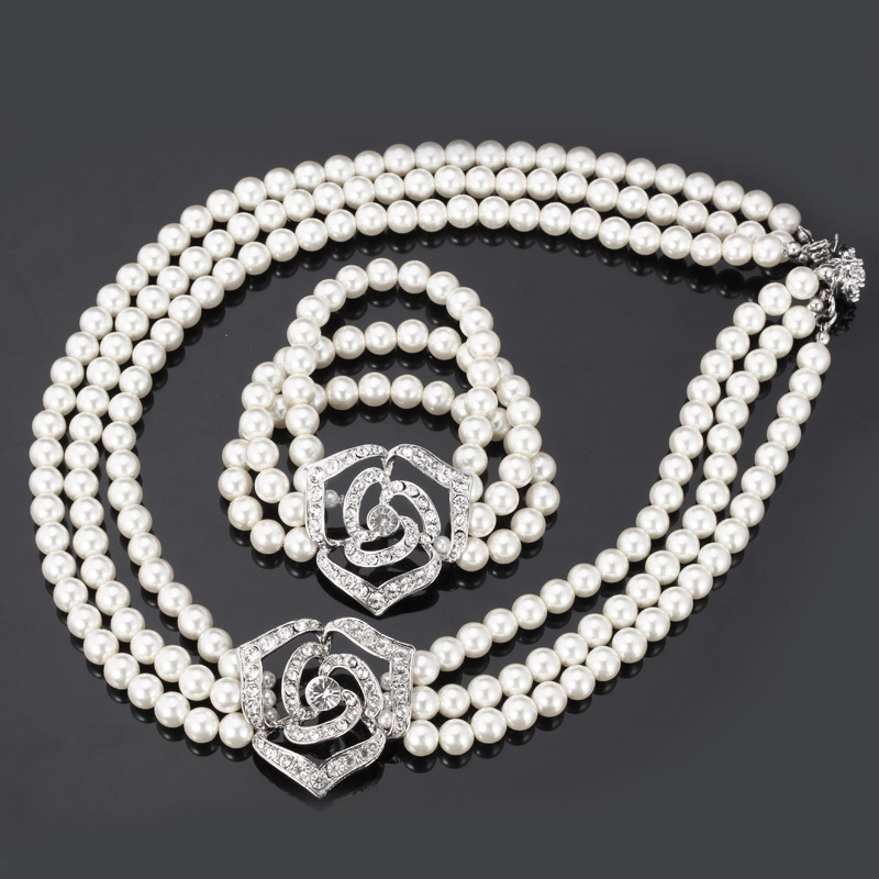 Cute Rose Flower Simulated Pearl Beads Sets Clear Rhinestone Necklace Bracelet Jewelry Sets For Women Wedding Accessories S614 fresh beads rhinestone flower bracelet for women