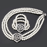 Cute Rose Flower Simulated Pearl Beads Sets Clear Rhinestone Necklace Bracelet Jewelry Sets For Women Wedding Accessories S614