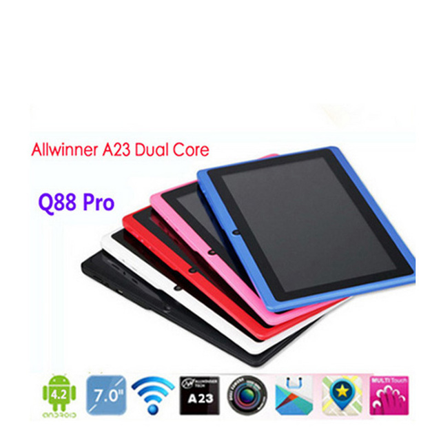5 pcs/lot DHL Free Wholesale 7 inch Q88 Cheapest Tablet PC Dual Camera Allwinner A33 quad Core 512M 4GB Android 4.4+Gifts
