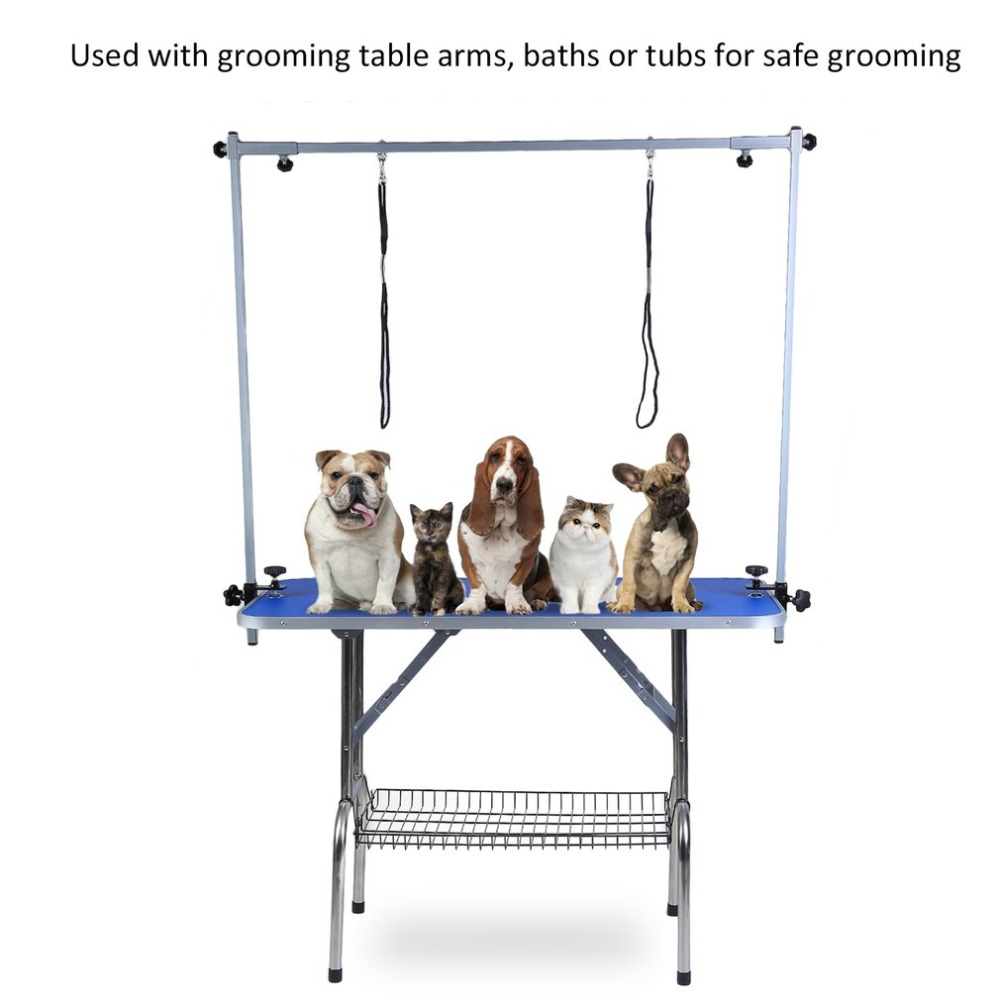 GT-205-H 44 Inch Folding Portable Adjustable Height Arm Non Slip Heavy Duty Stainless Steel Dog Cat Pet Grooming Bath Table NEW