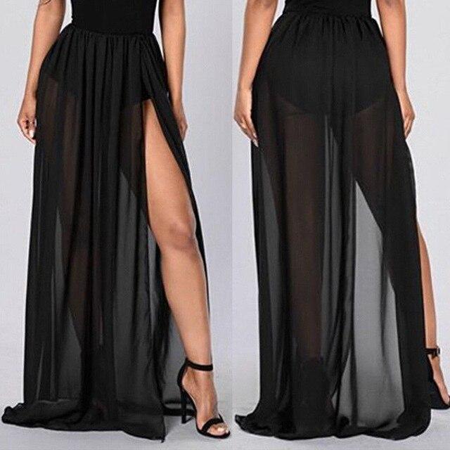 380e977c44 Women High Waist Empire See Through Sheer Side Split Skirt Black Solid  Transparent Chiffon Pleated Maxi
