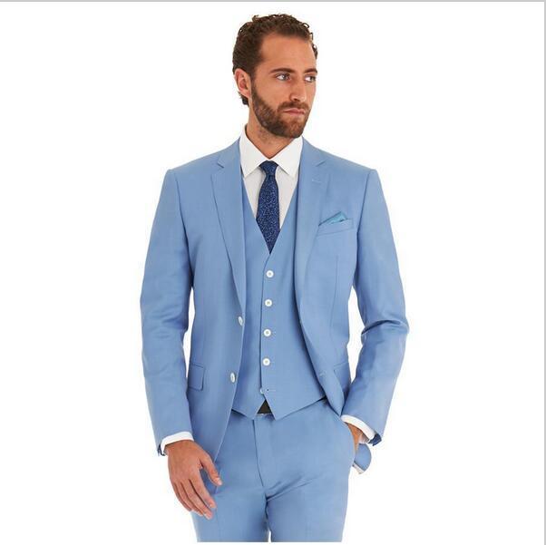 New Arrivel Romantic Light blue Lounge Best man suit Wedding Tuxedo ...
