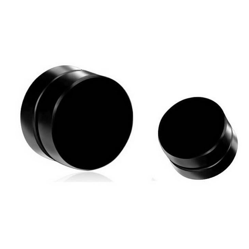 Vintage Punk Mens Earring Shellhard Black Round Magnetic Clip On Ear Stud Earrings No Piercing Unisex