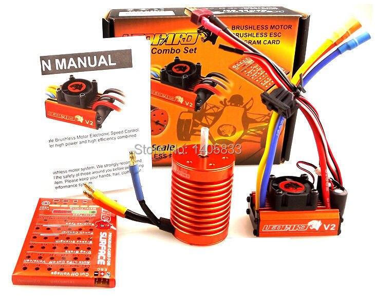SKYRC LEOPARD 60A ESC + 4370KV 9T / 3930KV 10T / 3300KV 12T / 3000KV 13T Brushless Motor Combo + Program Card for RC 1/10 Car