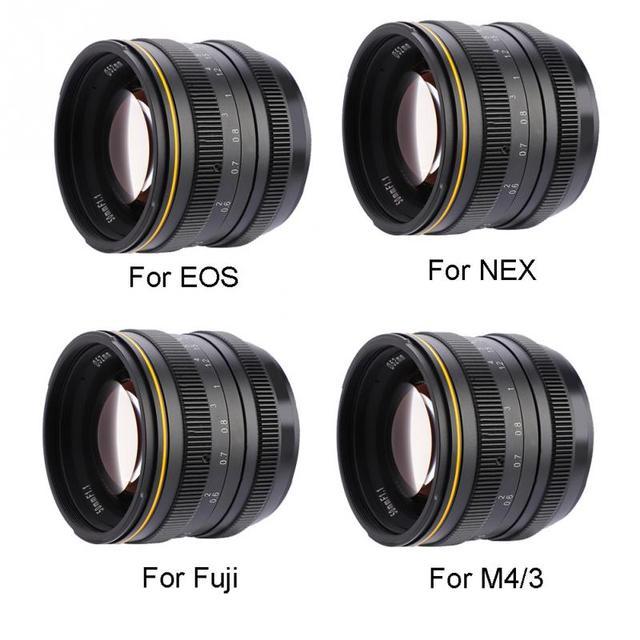 Kamlan 50mm f1.1 APS-C גדול צמצם ידני פוקוס עדשה עבור Canon EOS-M NEX פוג 'י X M4/3 הר מצלמה לראי מצלמות