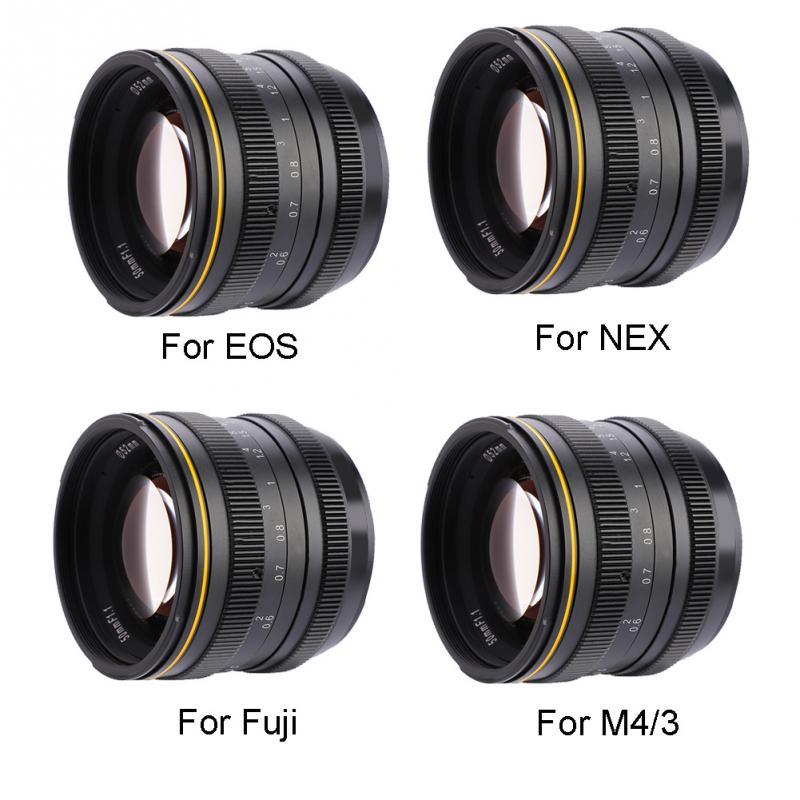 Kamlan 50mm f1.1 APS-C grande abertura lente de foco manual para canon EOS-M nex fuji x m4/3 montagem câmera para câmeras mirrorless