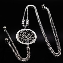 2020 Fashion Tree of Life Stainless Steel Long Necklace Women Silver Color Necklaces With Crystal Jewellery bisuteria N18026