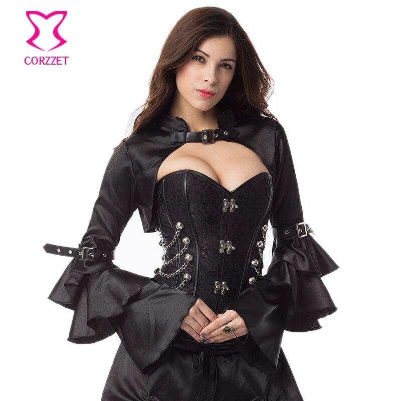 Černý saténový dlouhý rukáv s motýlkem Vintage viktoriánské korzetové kostýmy Doplňky Sexy Bolero Jacket Gothic Steampunk Kabát Ženy