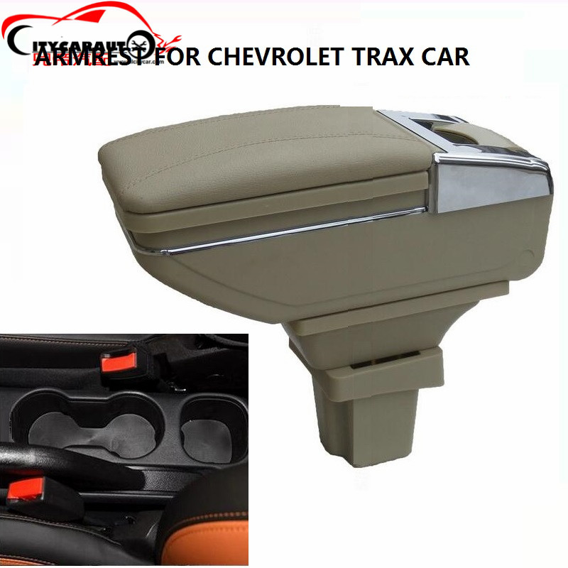 CITYCARAUTO LUXURY WITH USB TRAX 2012-16 Car armrest box central Storage content box with cup holder &LED USB FOR TRAX 12-17