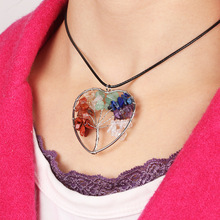 лучшая цена New Fashion Women Rainbow 7 Chakra Tree Of Life Pendant Necklaces Silver Crystal Natural Stone Heart Pendant Necklace Party Gift