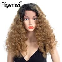 Aigemei Omber длинные вьющиеся парики Волокно Парики жаропрочных Синтетический Синтетические волосы на кружеве парик для женщин девушек 20 дюймо