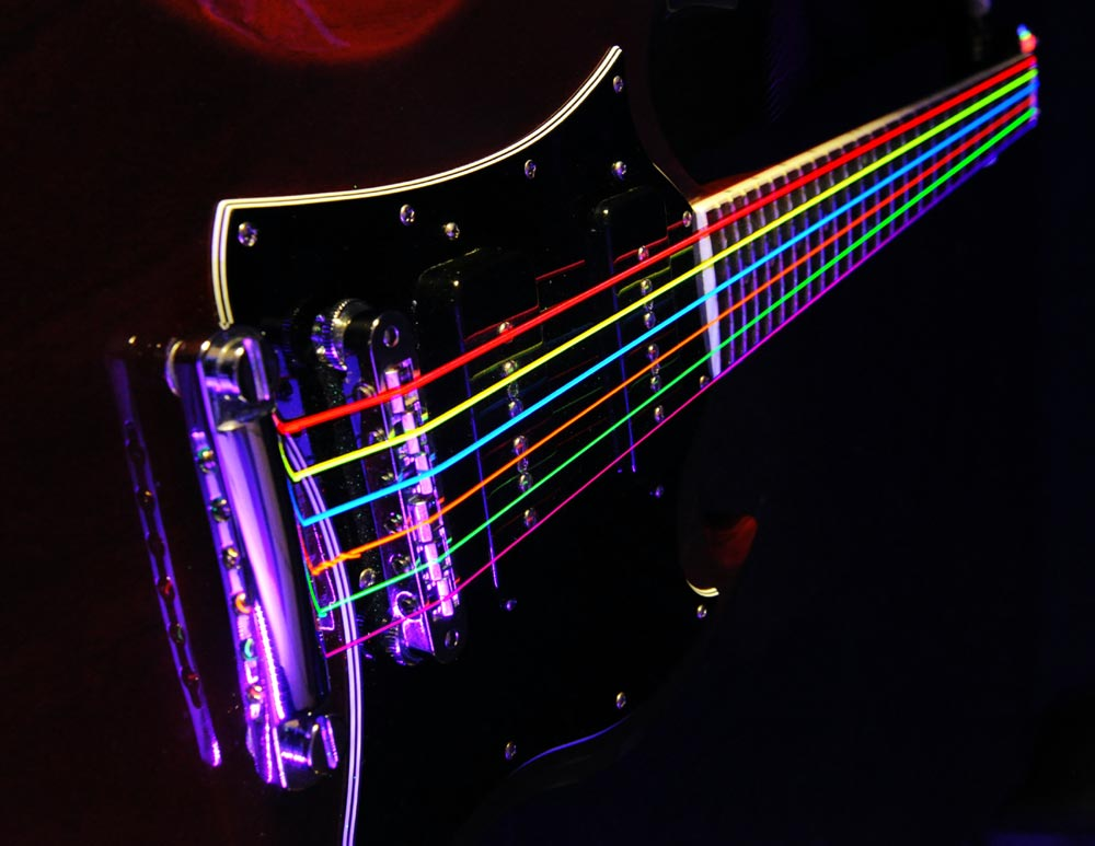 Dr K3 Hi Def Neon Multicolor Luminescent Electric Guitar Strings