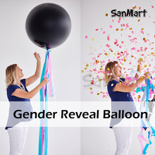 Gender Reveal Balloon Black Party with Confetti Birthday Balloons for Baby Shower