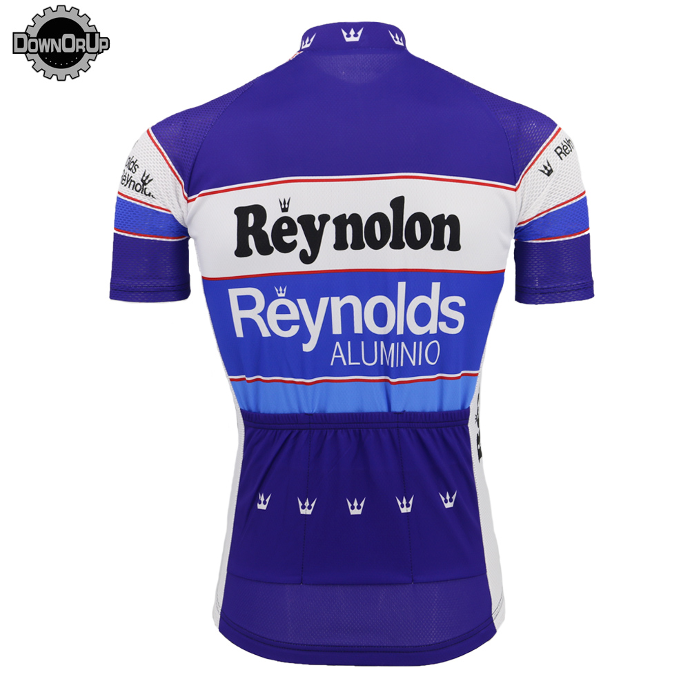 Image 2 - 2019 Retro REYNOLDS cycling jersey men summer RACE Team BLUE Bike Cycling Jersey Tops MTB Customized racing clothes Triathlon-in Cycling Jerseys from Sports & Entertainment