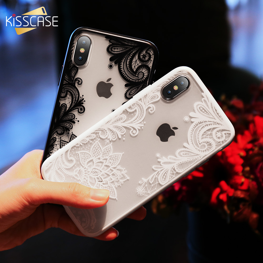 KISSCASE Fundas de teléfono para iPhone 6 6s Plus 7 7 Plus 5 5s SE Luxury Lace Flowers Funda de TPU para iPhone 7 8 Plus X Xs Max Xr