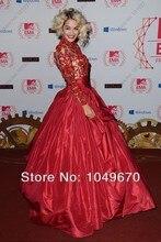 Benutzerdefinierte Rita Ora bei den MTV emas 2016 Taft Celebrity kleider Red Ballkleid Long Sleeve Red Carpet Abendkleider F & M-809