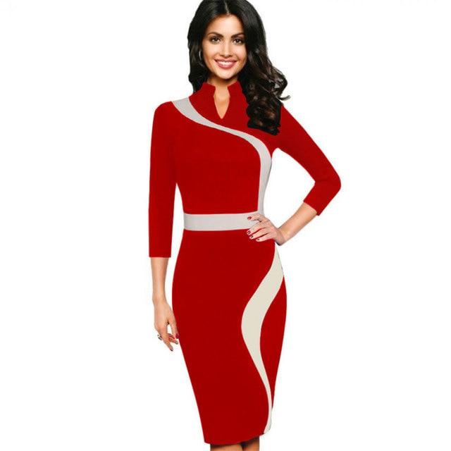 c03ef33c52e Dress Silk Chiffon Short Sleeves Chiffon Empire Waist Women Vintage  Business Casual Party Pencil Sheath Dress