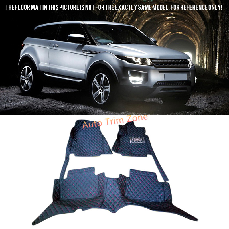 Interior Black Leather Floor Mats & Carpets For Land Rover Range Rover Evoque (For 2-Door Model) 2011-2016 silver black side fender sticker for land rover range rover evoque 2011 2016 abs chrome car accessories