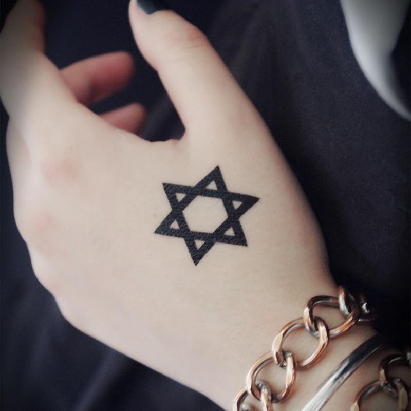 Hexagram Söt trend Animation Cartoon logo tatuering tatuering 3cm * 3cm Klistermärke XR002
