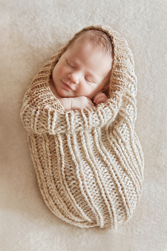 Newborn Baby Beige Swaddle Sack Prop Photography Handmade Crochet Photo Props Newborn Cocoon Sleeping Bag