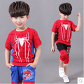Kids boys short-sleeved suit 2016 new summer children's cotton casual T-shirt big virgin piece shorts girls clothes 2-10years