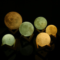 Rechargeable 3D Lights Print Moon Lamp 2 Color Change Touch Switch Moon Light Bedroom Led Night Light Home Decor Creative Gift 4