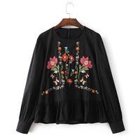YSMILE Y Cause Women Blouses Shirts Elegant Embroidery Floral White And Black Long Sleeve O Neck