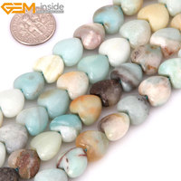 Gem Inside Natural Heart Shape Amazonite Stone Beads For Jewelry Making 15inches 12mm DIY Jewellery