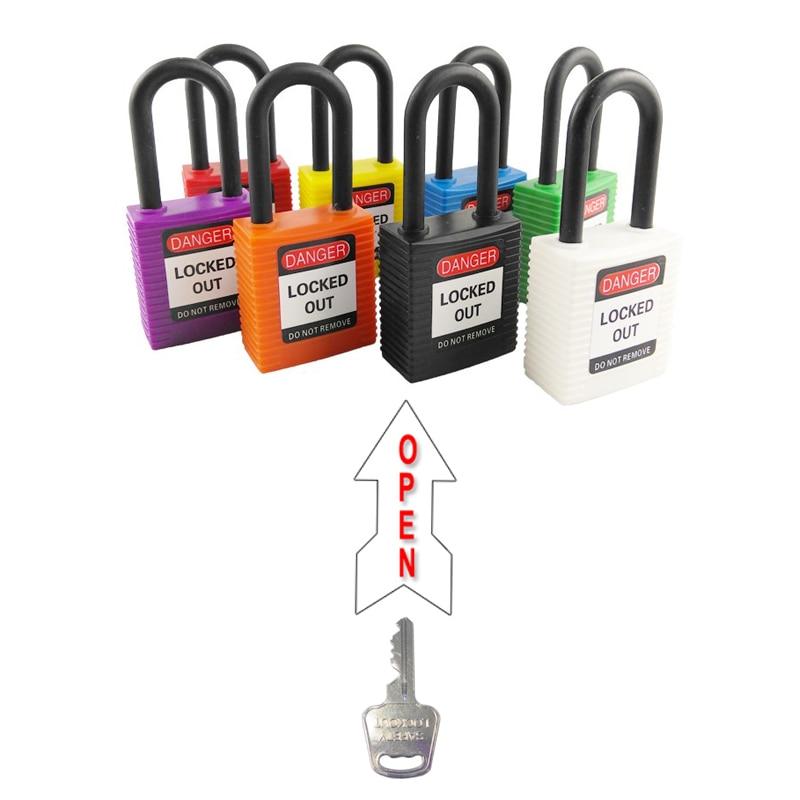 Livraison gratuite 8 pc 38mm lock-out cadenas ouvert par mêmes touches en plastique manille sécurité serrures