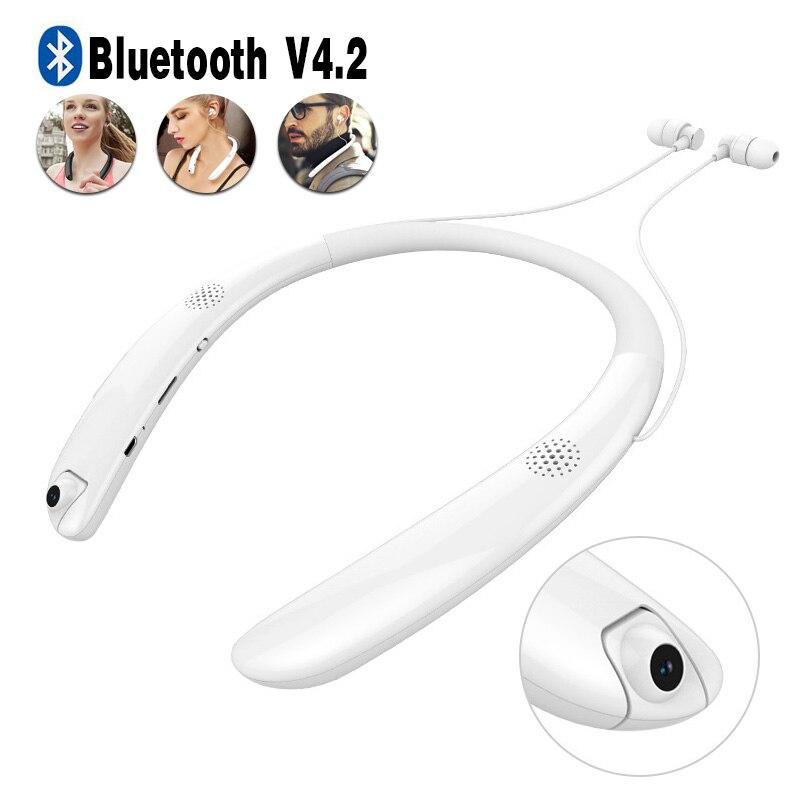 Casque Bluetooth casque sans fil Mini caméra stéréo tour de cou écouteurs intra-auriculaires avec caméscope Sport Bluetooth écouteur
