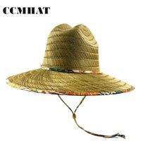 CCMHAT Large Bord Chapeau De Paille Pour Les Femmes Coupe-Vent Corde Sombrero Soleil d'été Chapeau Hommes Sauveteur Chapeu Feminino Palha De Praia Toca