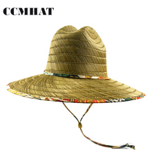 Фотография CCMHAT Wide Brim Straw Hat For Women Windproof Rope Sombrero Summer Sun Hat For Men Lifeguard Chapeu Feminino Beach Straw Hat