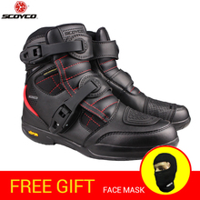 SCOYCO Motorcycle Boots Waterproof High Ankle Racing boots Leather Motocross Off-Road Racing Motorbike Riding Shoes Black
