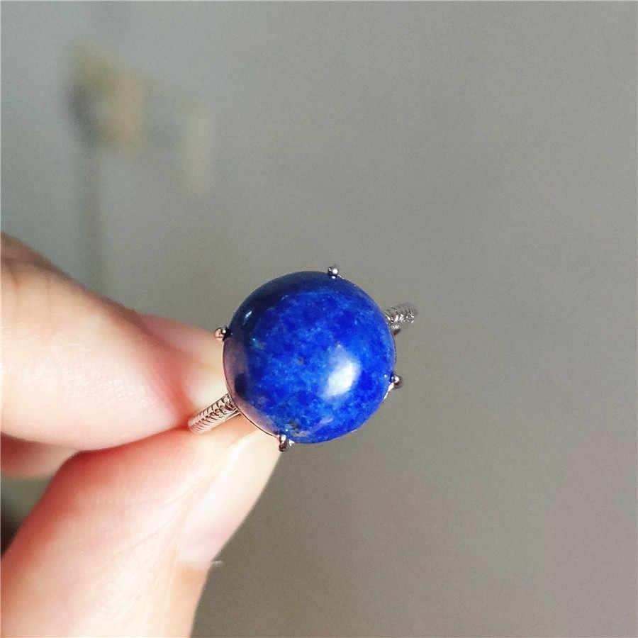 Deep Blue Lapis Lazuli ธรรมชาติแหวนผู้หญิงผู้ชายแฟชั่นงานแต่งงานเงินเครื่องประดับหินธรรมชาติแหวนปรับขนาด