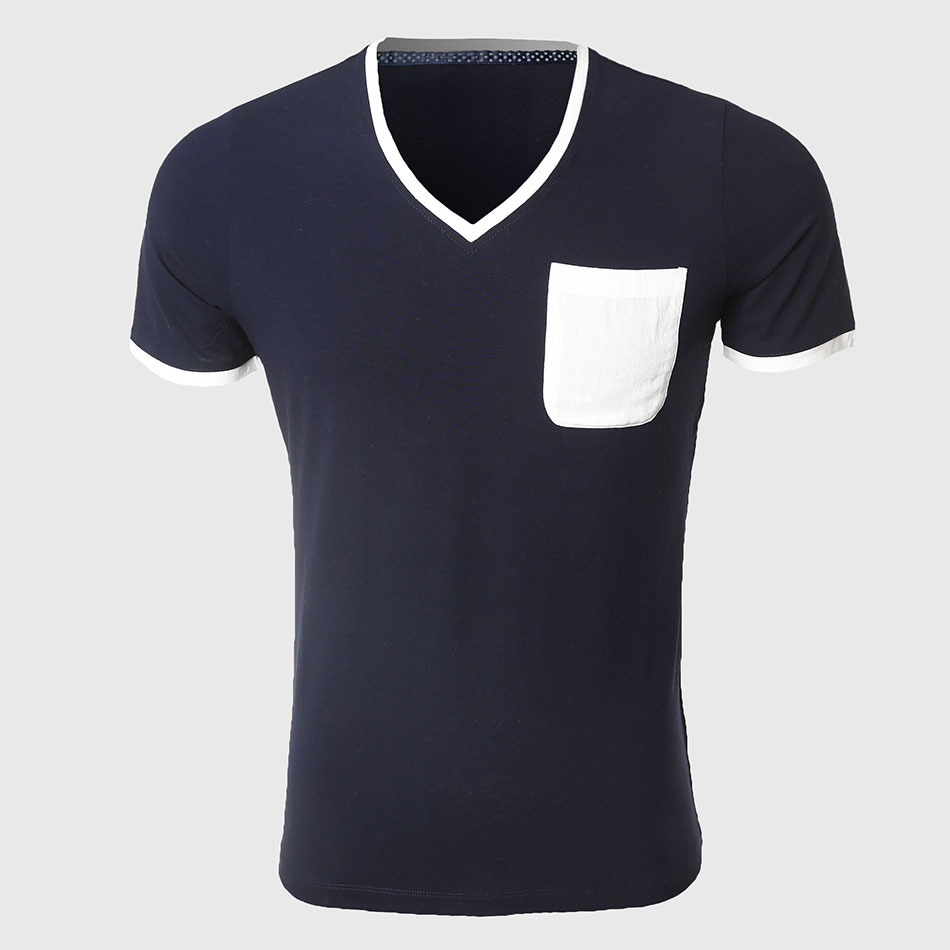 Men Low Cut V Neck T Shirts Plain Cool T Shirt Tight Sexy