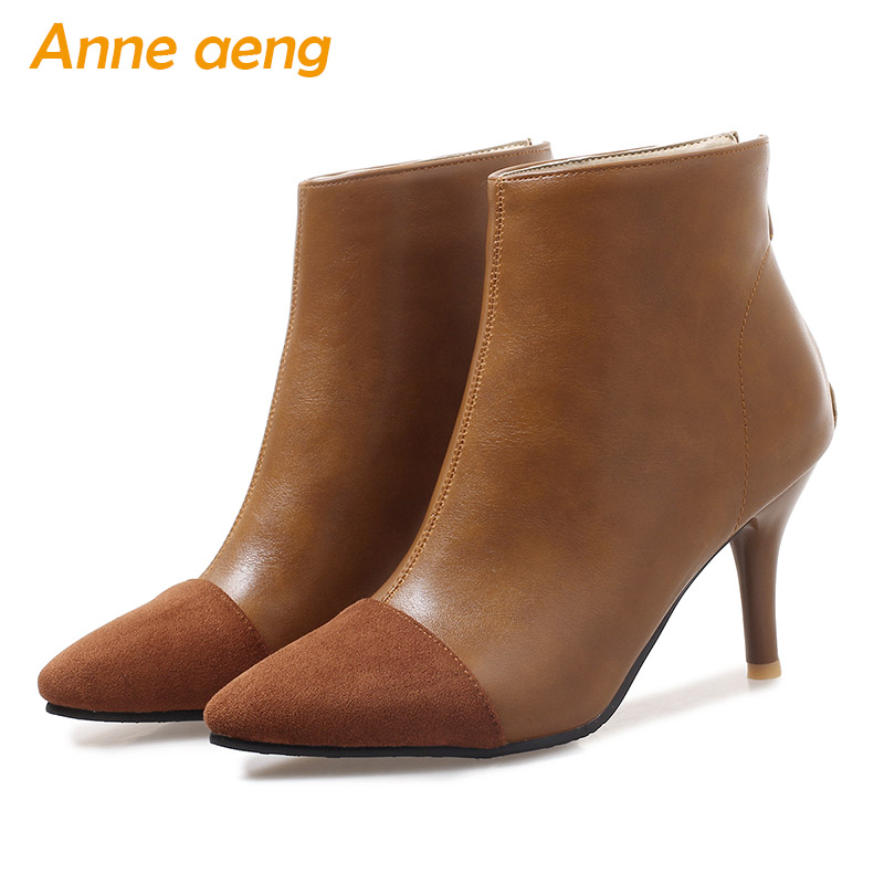 2018 New Winter Women Ankle Boots High Heels Pointed Toe Zipper Elegent Sexy Ladies Women Shoes Yellow Snow Boots Big Size 33-46 картридж cactus cs ept0595 светло голубой