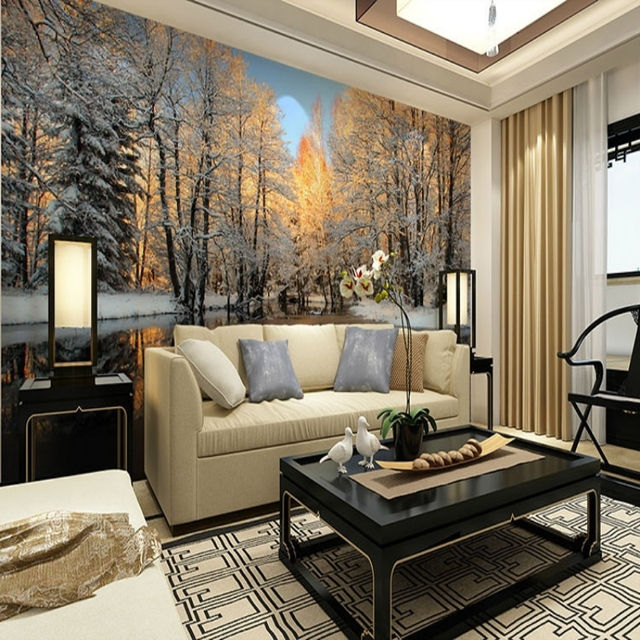 Beibehang D Hiver Paysage Bouleau Foret Riviere Neige 3d Chambre