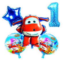 5Pcs/set blue Super Wings Balloon toys Birthday Party 32 inch Number Christmas balloons Decorations kids toy Ballons supplies